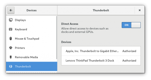The new thunderbolt control center panel